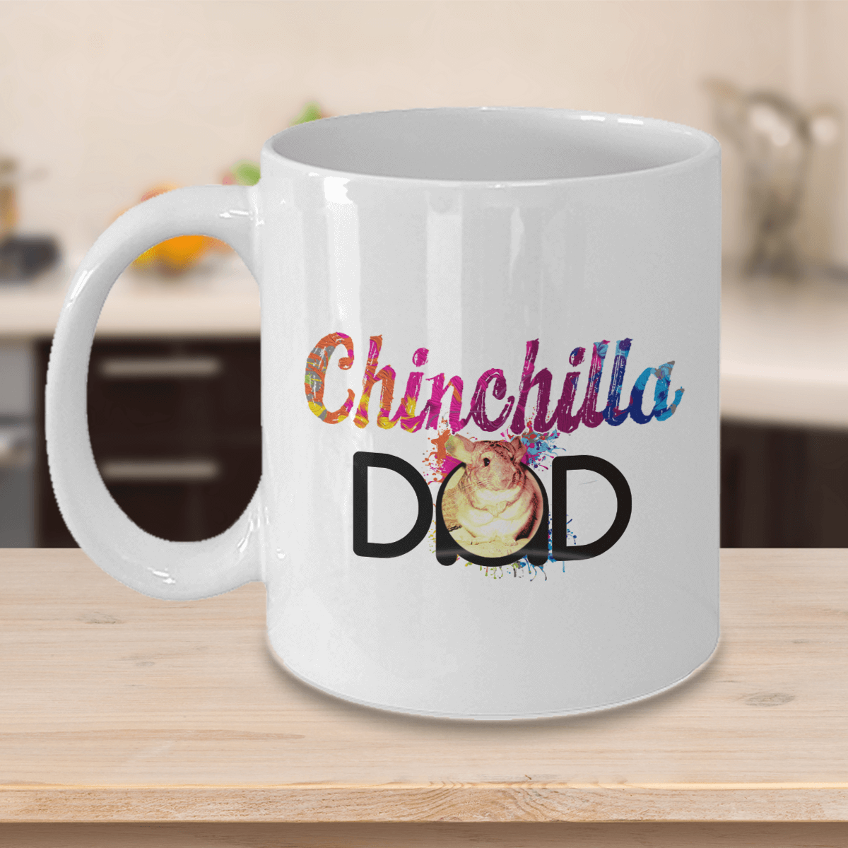 Chinchilla Dad White Ceramic Mug