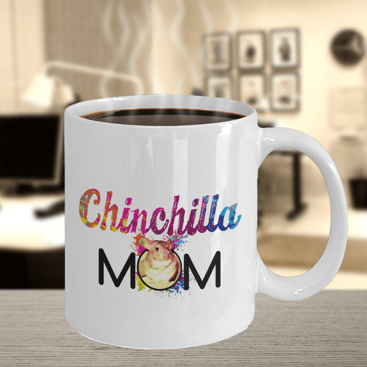 Chinchilla Mom White Ceramic Mug