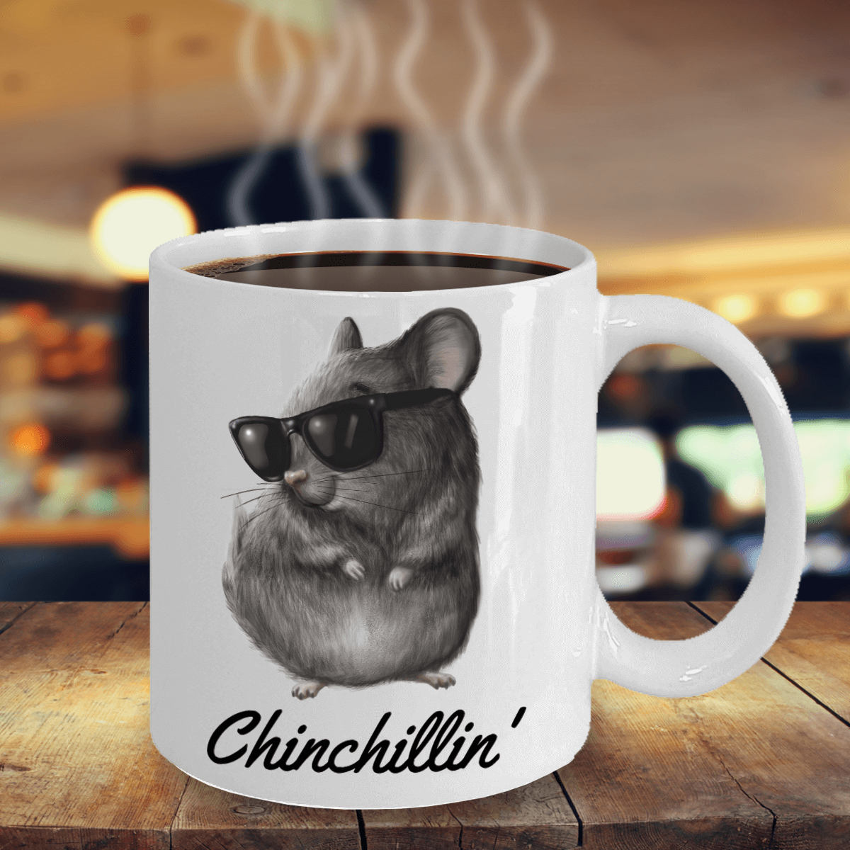 Chinchillin' White Ceramic Mug