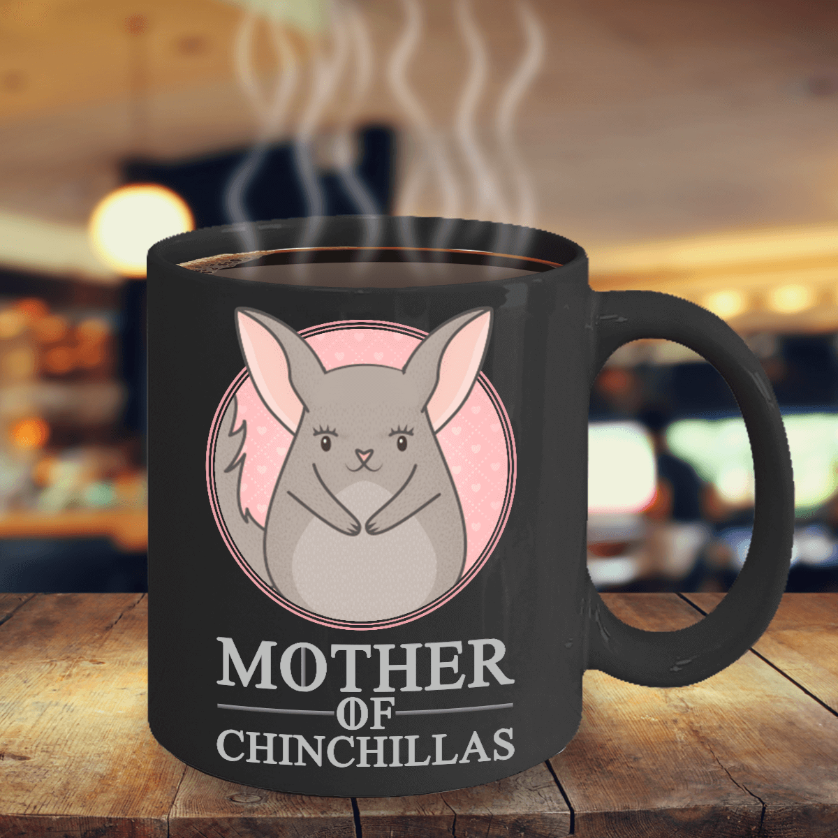 Mother Of Chinchillas Black Ceramic Mug