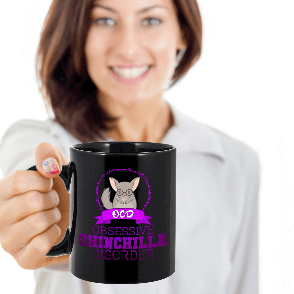 Obsessive Chinchilla Disorder Black Ceramic Mug (Purple Design)